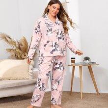 Pajama Set mit Pflanzen Muster und Knopfen