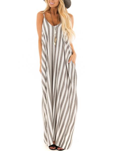 Yoins Striped Round Neck Sleeveless Dress