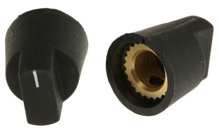 RS PRO Potentiometer Knob, Grub Screw Type, 14mm Knob Diameter, Black, 6.4mm Shaft (5)