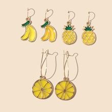 3pairs Fruit Charm Drop Earrings