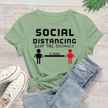 Camisetas Dibujos animados Menta Verde Casual