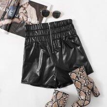 PU Leder Shorts mit Reissverschluss vorn
