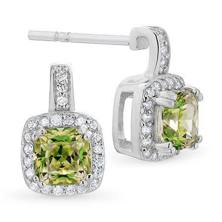 Swarovski Vibrancy Zirconia Green Cubic Zirconia Sterling Silver 11.7mm Stud Earrings, One Size , No Color Family
