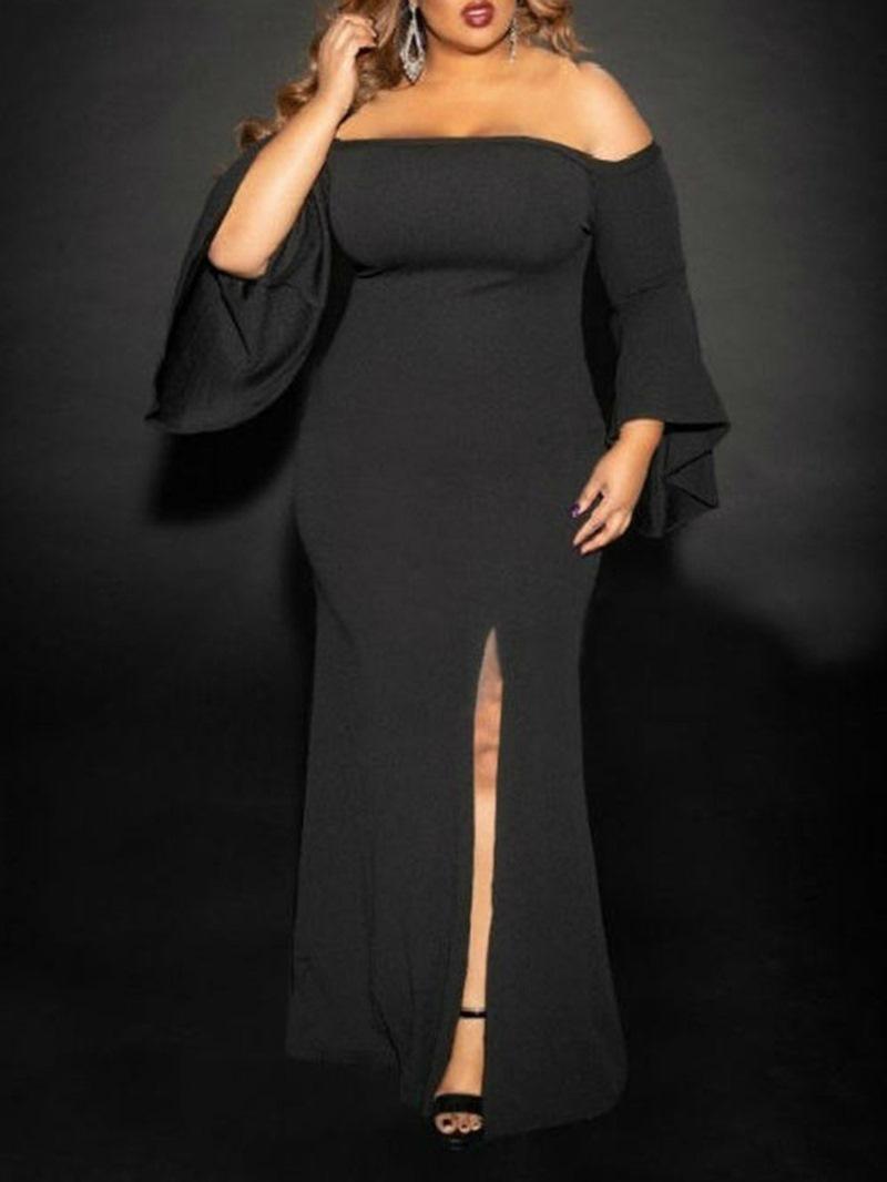 Ericdress Floor-Length Off Shoulder Split Bodycon Flare Sleeve Dress