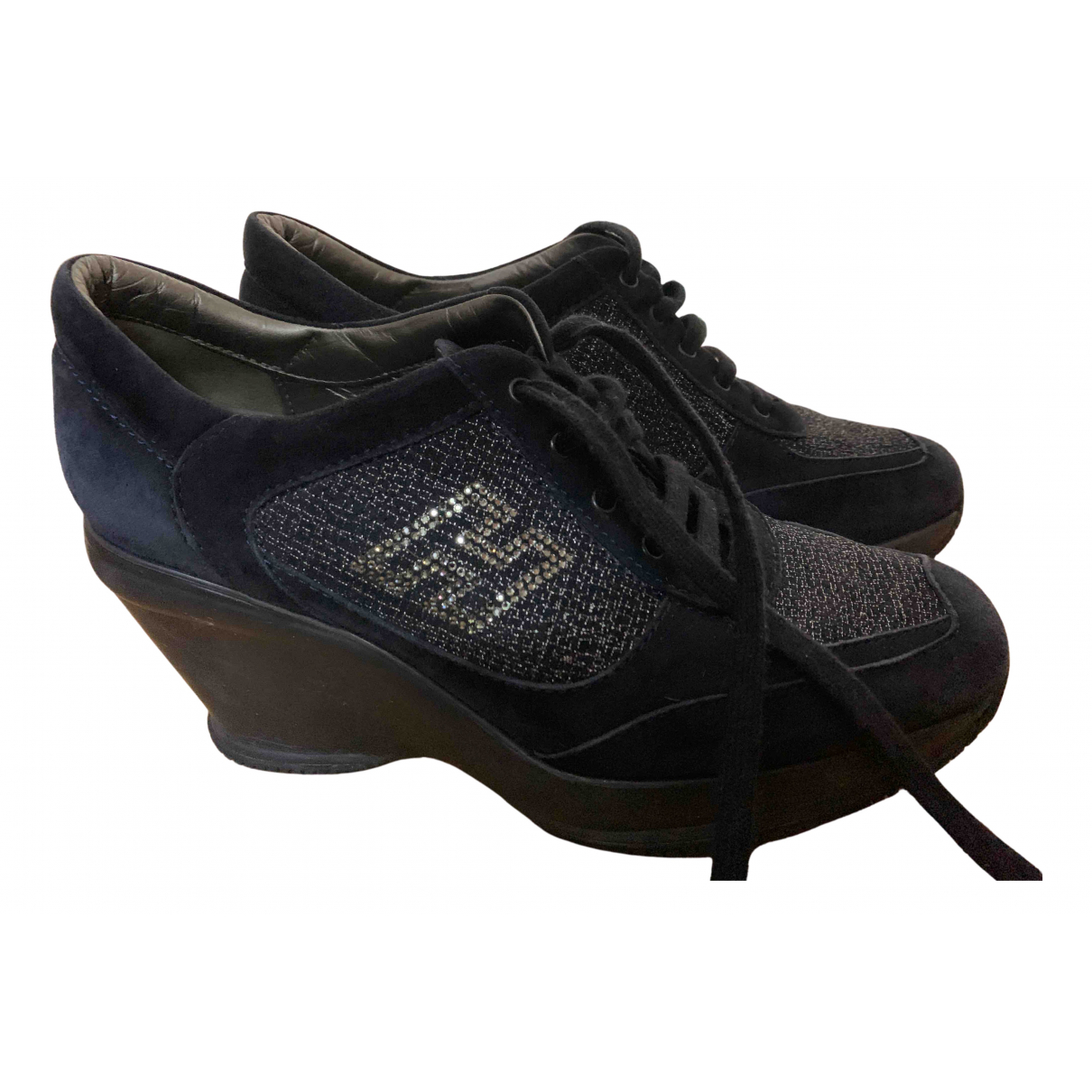 Hogan N Blue Leather Lace ups for Women 39.5 EU