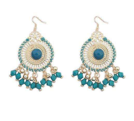 Bohemian Geometric Hollow Pendant Earrings Rice Beads Tassel Earrings Ethnic Jewelry