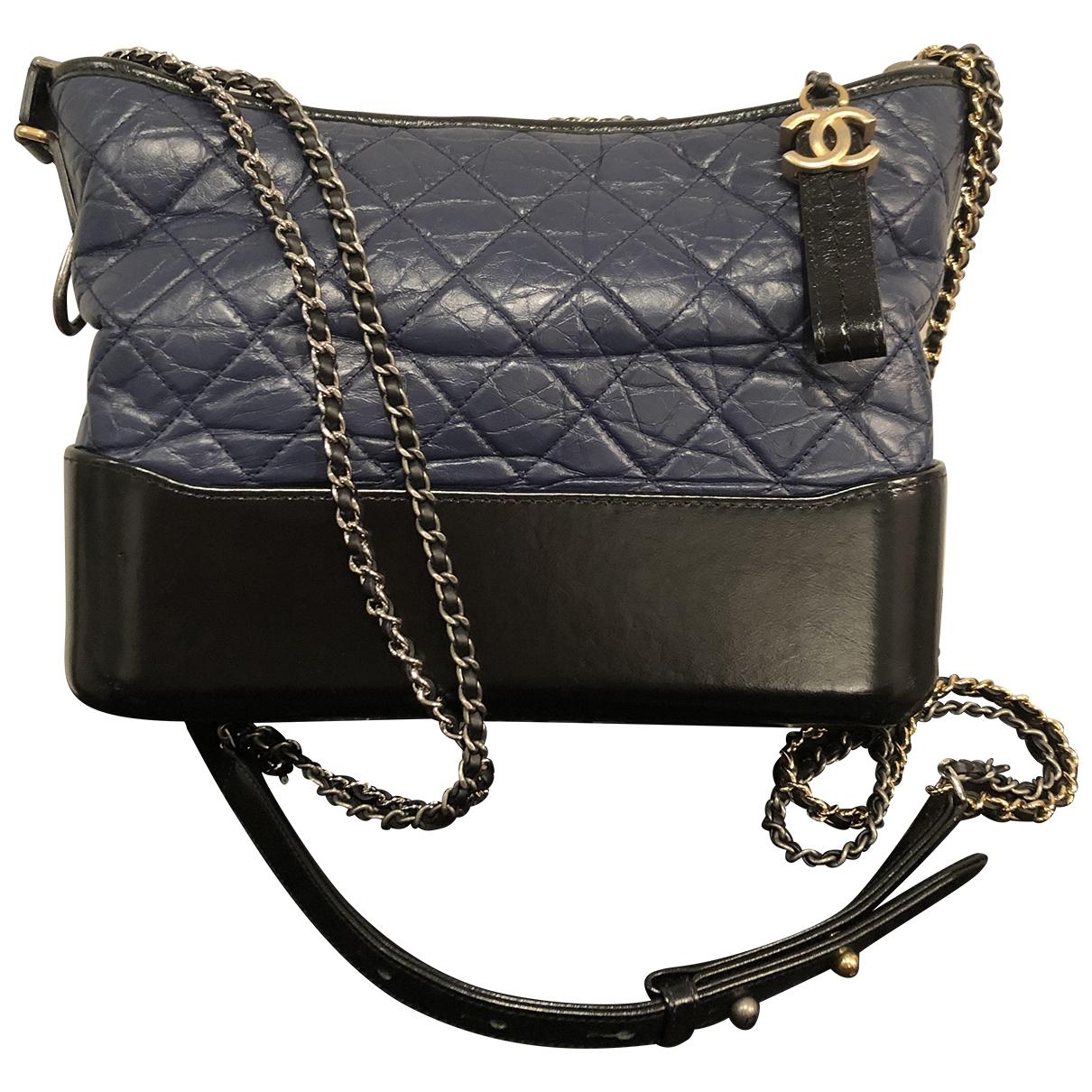 Chanel Gabrielle Handtasche in  Blau Leder