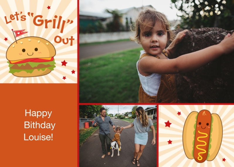 Kids Birthday Party Invites Mail-for-Me Premium 5x7 Folded Card , Card & Stationery -Let's Grill Out