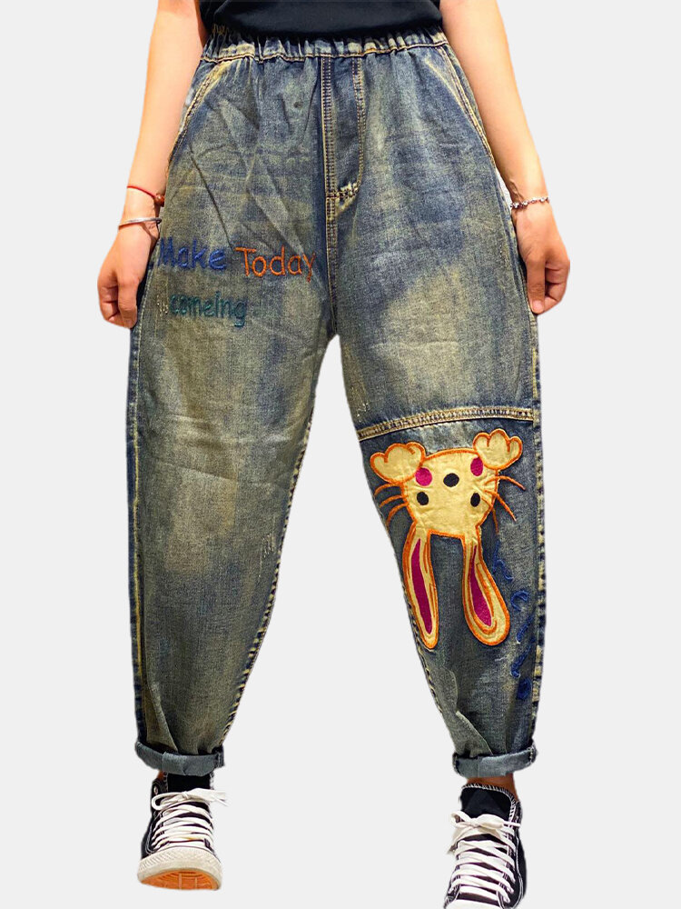 Cartoon Letter Embroidery Patchwork Loose Denim Harem Jeans