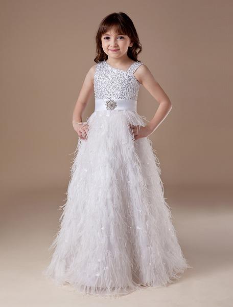 Milanoo Vestido formal para niñas de malla blanca