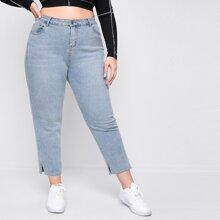Plus High Stretch Slit Hem Jeans