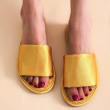 Open Toe Metallic Slippers