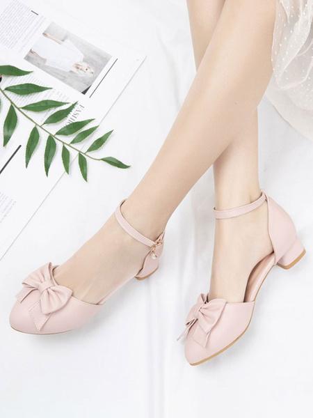 Milanoo Sweet Lolita Footwear Pink Bows PU Leather Puppy Heel Ankle Strap Lolita Pumps