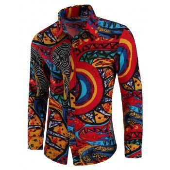 Casual Totem Print Long Sleeve Shirt