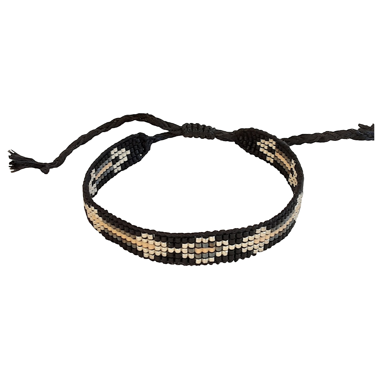Non Signe / Unsigned Motifs Ethniques Armband in  Schwarz Perle
