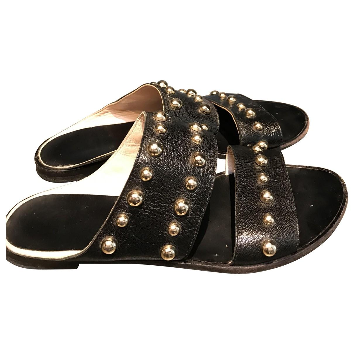 Lanvin - Sandales   pour femme en cuir - noir