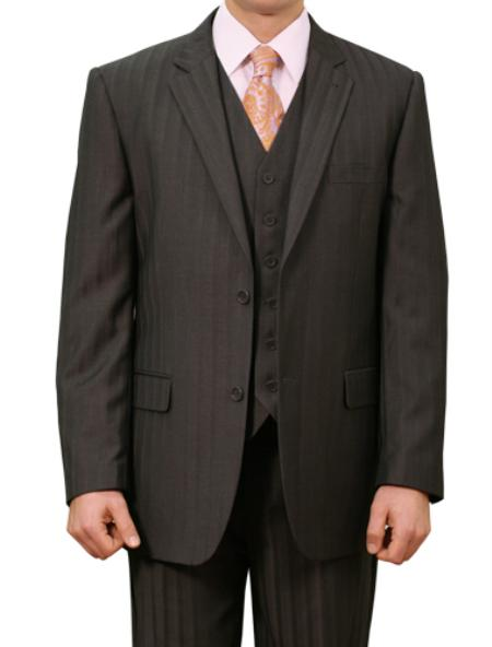 2 Button Front Closure Notch Lapel Suit Mens Cheap