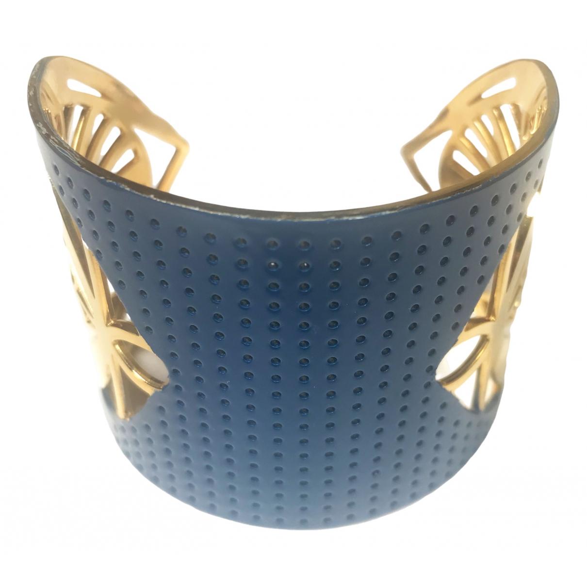 - Bracelet Manchette pour femme en plaque or - bleu