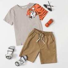 Boys Tiger Print Tee and Drawstring Waist Shorts Set