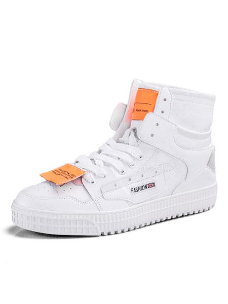 Milanoo Zapatillas altas blancas para hombre Zapatillas de cordones con punta redonda y color block acogedor