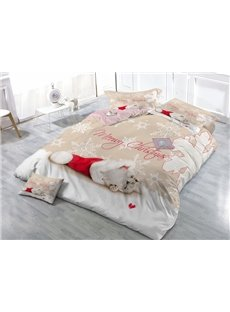 Naughty Kitty and Christmas Hat Wear-resistant Breathable High Quality 60s Cotton 4-Piece 3D Bedding Sets