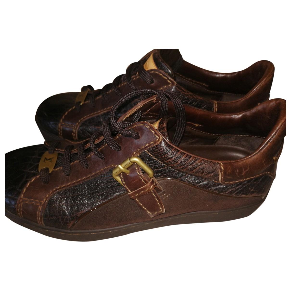 Louis Vuitton - Baskets   pour homme en crocodile - marron