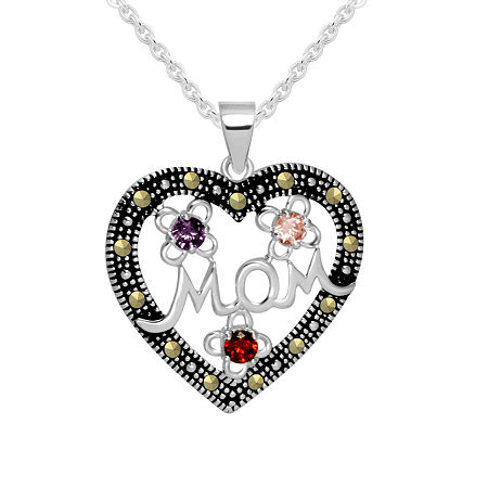 Sparkle Allure Cubic Zirconia Pure Silver Over Brass 18 Inch Cable Heart Pendant, One Size , No Color Family