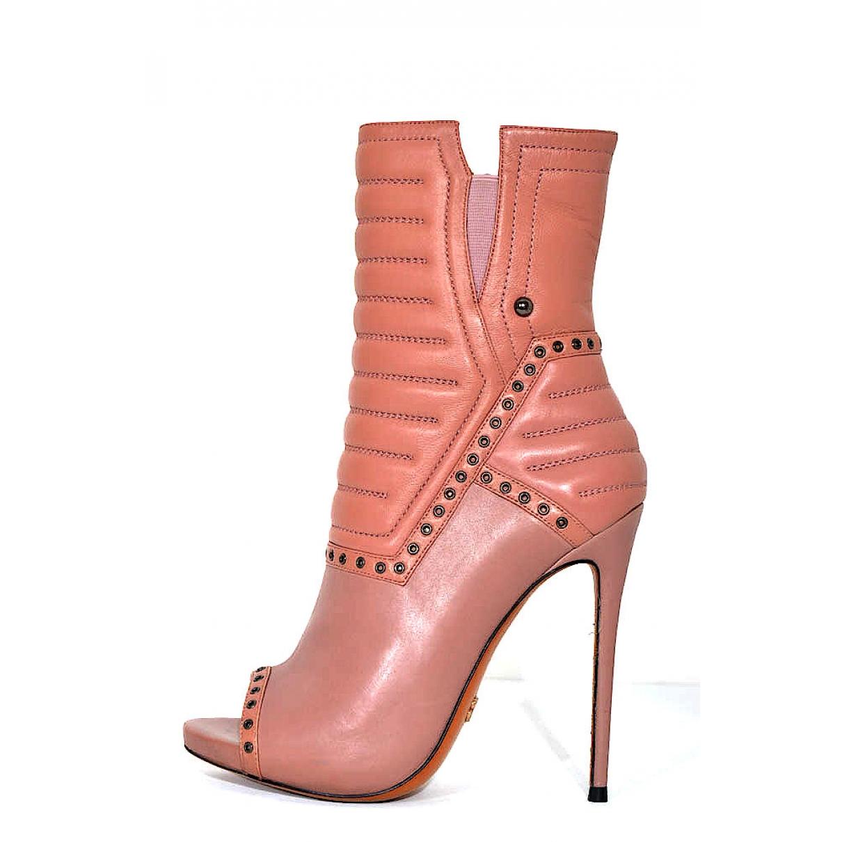 Gianmarco Lorenzi - Boots   pour femme en cuir - rose