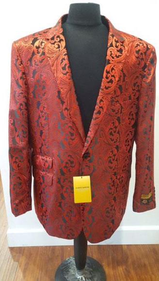 Floral Sportcoat Shiny Red Fashion Blazer For Men Dinner Jacket Tuxedo