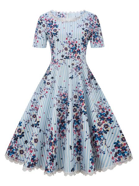 Milanoo Floral Vintage Dress 1950s Stripe Printed Plus Size Short Sleeve Lace Trim Retro Swing Dress