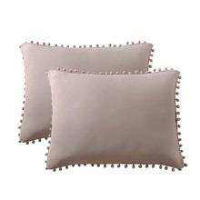 1pair Pom Pom Decor Pillowcase Without Filler