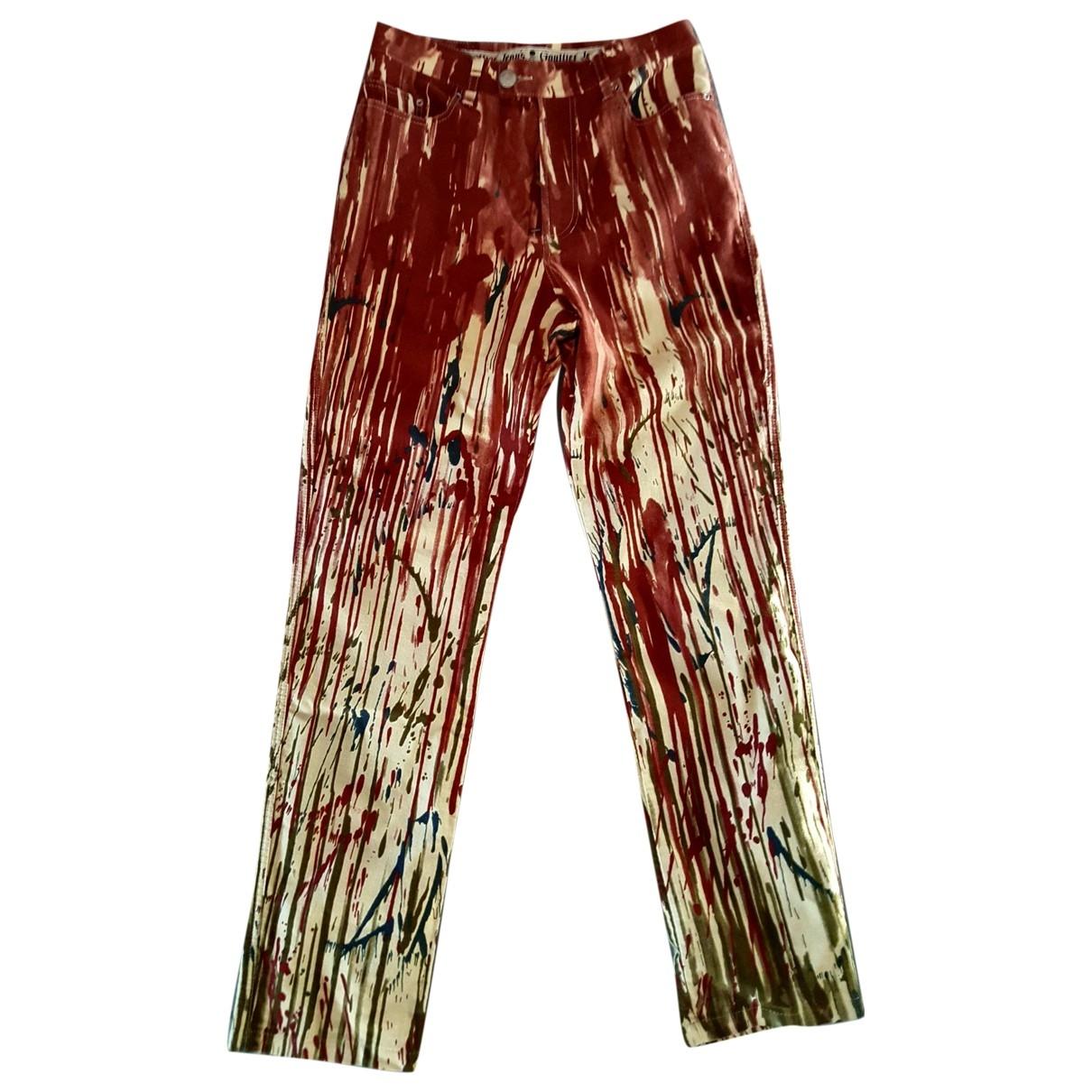Jean Paul Gaultier \N Burgundy Denim - Jeans Trousers for Women 40 FR