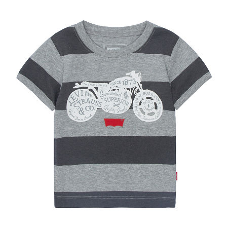 Levi's Baby Boys Short Sleeve Applique T-Shirt, 3-6 Months , Gray