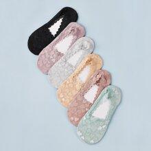 6pairs Heart Pattern Mesh Ankle Socks