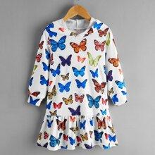 Toddler Girls Allover Butterfly Print Ruffle Hem Hoodie Dress