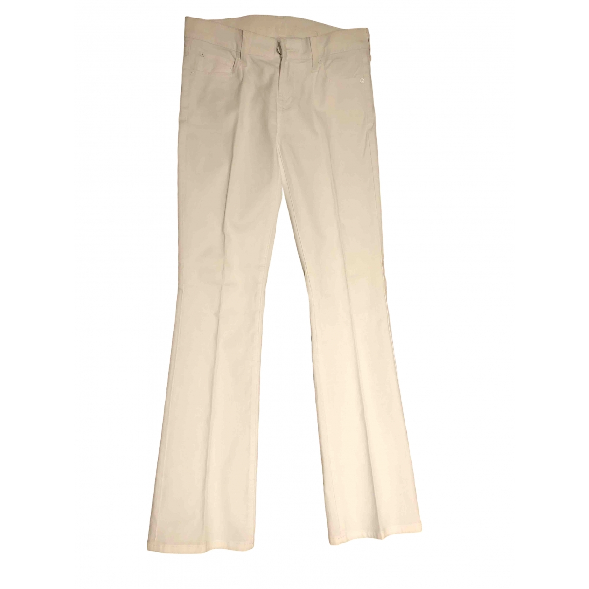 7 For All Mankind \N White Cotton - elasthane Jeans for Women 26 US