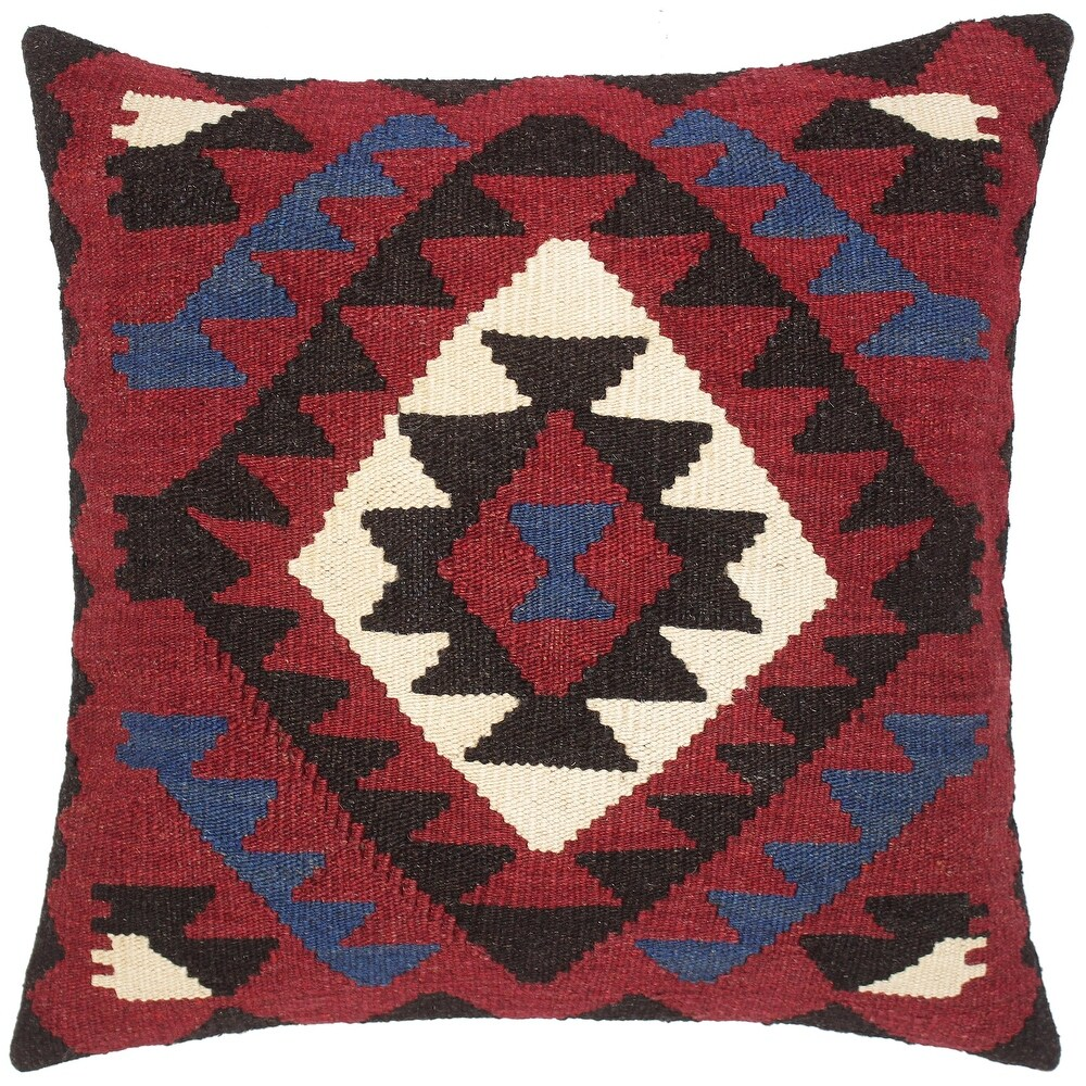Tribal Dalton Hand-Woven Turkish Kilim Throw Pillow 20 in. x 20 in. (Accent - 20 in. x 20 in. - Polyester - Red - Single)