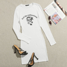 Chinese Dragon and Letter Graphic Rib-knit Dress