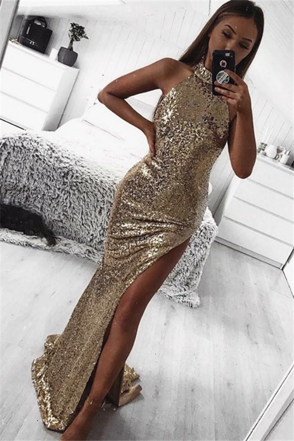 Gold Mantel Halfter aermellose Seitenschlitz Pailletten Sexy Prom Kleider