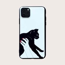 1pc Cat Print iPhone Case