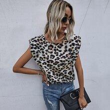 Bluse mit Leopard Muster und Rundhalsausschnitt