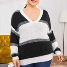 Plus Drop Shoulder Two Tone Fuzzy Sweater