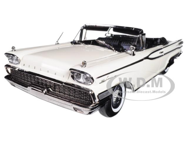 1959 Mercury Park Lane Open Convertible Marble White Platinum Edition 1/18 Diecast Model Car by Sunstar
