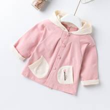 Toddler Girls Two Tone Button Front Hooded Coat