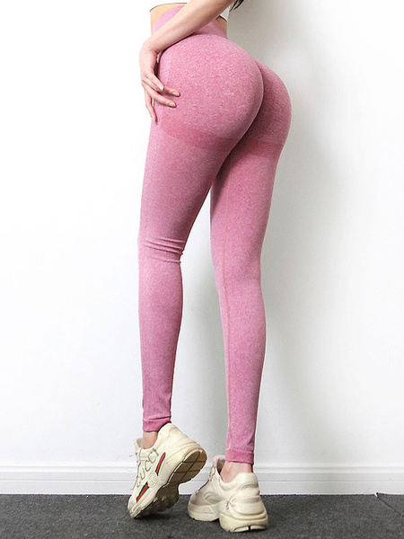 Milanoo Yoga Pants Stretchy Soft Pink Yoga Leggings
