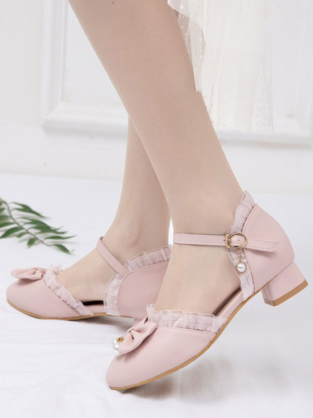 Milanoo Sweet Lolita Footwear Pink Bows Lace PU Leather Puppy Heel Lolita Pumps