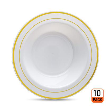 Premium Deluxe Plastic Party Disposable Soup Bowls with Gold Rim, 7.5
