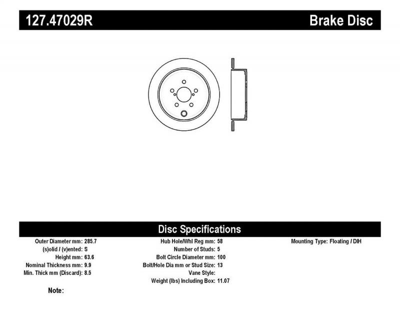 StopTech 127.47029R Sport Drilled/Slotted Brake Rotor; Rear Right Subaru Rear Right