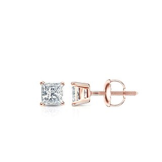 Auriya 1/3ctw Princess-cut Diamond Stud Earrings 14k Gold (Rose)