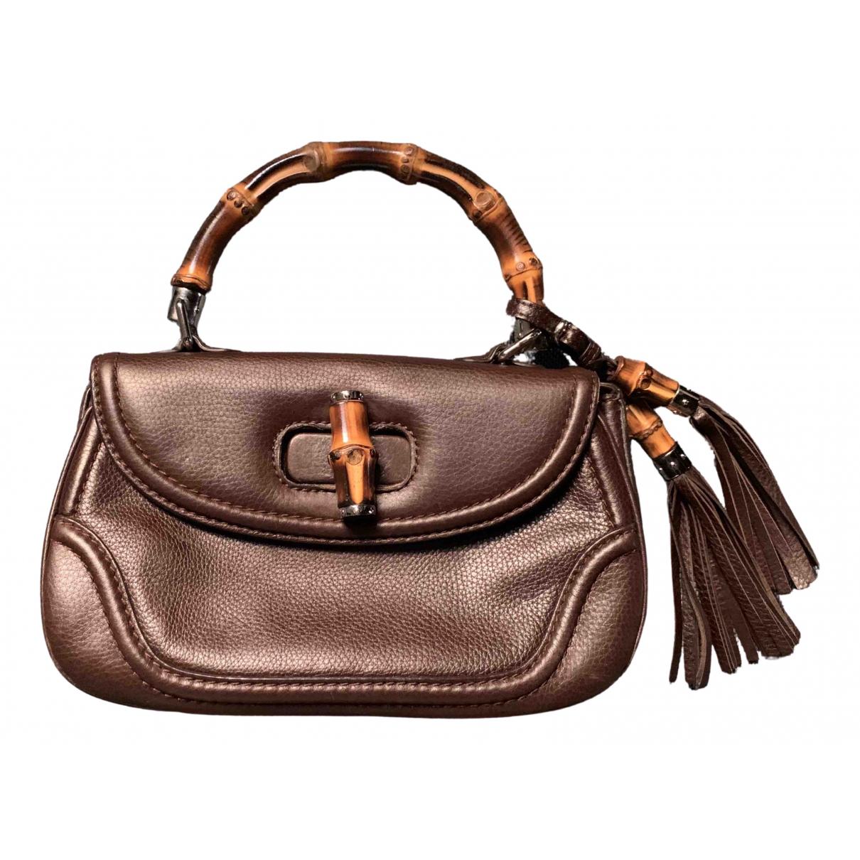 Gucci - Pochette Bamboo pour femme en cuir - marron